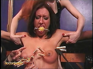 Three naughty sluts have their way with a ravishing raven haired sex bomb