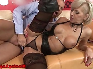 Cocksucking blonde in boots pussyfucked hard