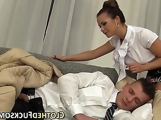 Clothed euro ho cum faced