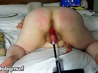 BBW gets machine fucked and spanked