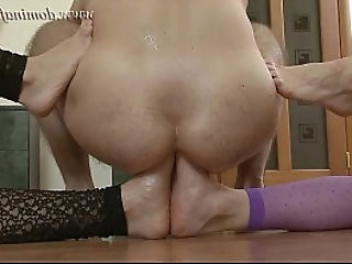 DominaFist Fancy pantyhose and double footing