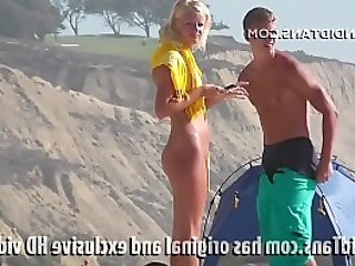 Beautiful russian teen naked on the beach showing her smooth pussy in public!