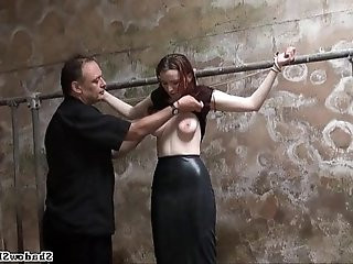 Filthy slaveslut whipping and dirty dungeon tortures of breast spanked amateur