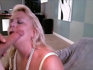 Blonde Milfy Getting a Mouthful of hot and tasty Cum
