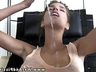 Pee covered piss drinking babe plays