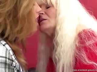Old lesbian granny fucks young sweet lesbian girl.More