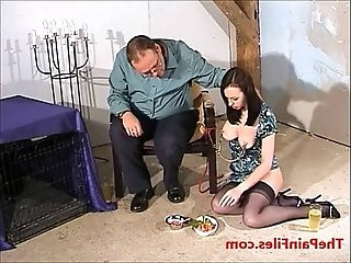 Nipple clamped Emily Sharpes bizarre food humiliation and messy domination of de