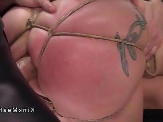 Hard tied slave anal banged