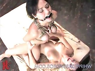 Tied up boobs gagged babe strapon fucked