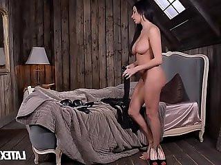 Latex dominatrix anissa kate slaps and sucks dick of crossdressed boyfriend
