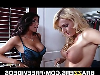 Busty brunette tries hard to seduce her straight blonde roommate