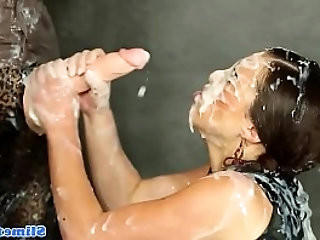 Cum covered classy eurobabes strapon fuck