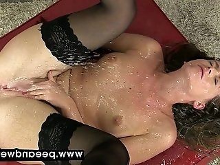 Stocking babe drinks piss in this solo scene