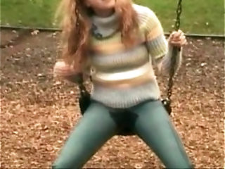 GIrl peeing to her jeans in public