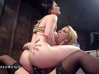 Lezdom strap on dildo fucking and spanking